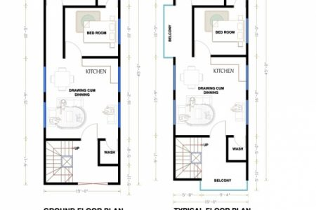 15 X 45 Duplex House Plan