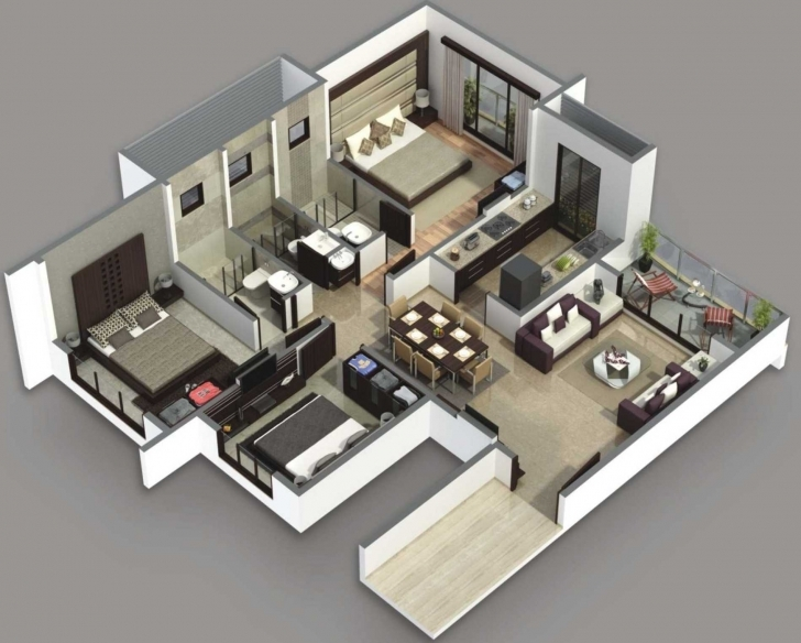 Remarkable Fabulous Modern 3 Bedroom House Floor 3D Plans And Plan Ideas Images Modern 3 Bedroom House Floor 3D Plans Picture