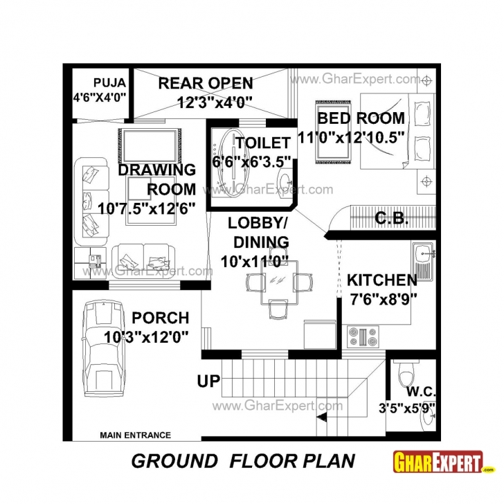 Remarkable House Plan For 30 Feet By 30 Feet Plot (Plot Size 100 Square Yards 100 Square Yard House Map Pic