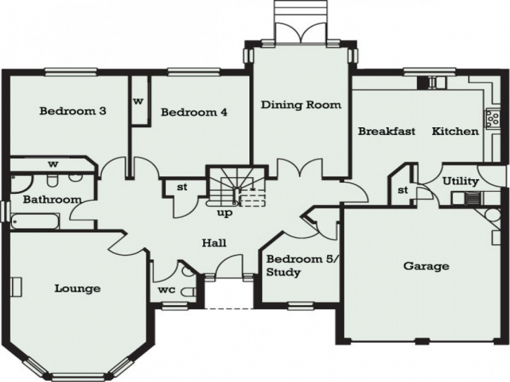 Splendid 5 Bedroom Bungalow Floor Plans Homes Fine | Theworkbench 5Bedroom Bungalow Plan Picture