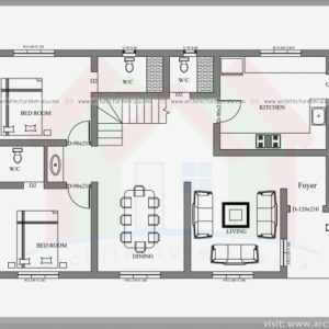 Simple 2 Floor 4Bed Room Full House Plan With Its Elevation