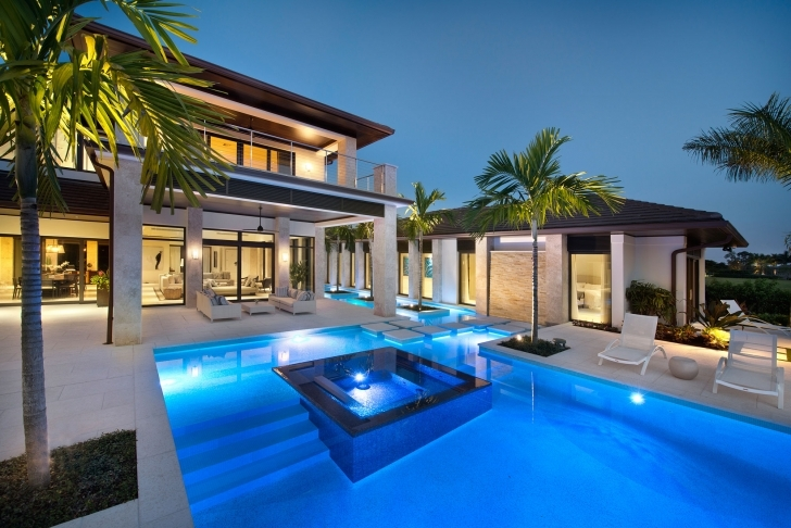 Splendid Elegant Warm Fancy House With Pool And Modern Furnitute On The Deck Fancy House Design Picture