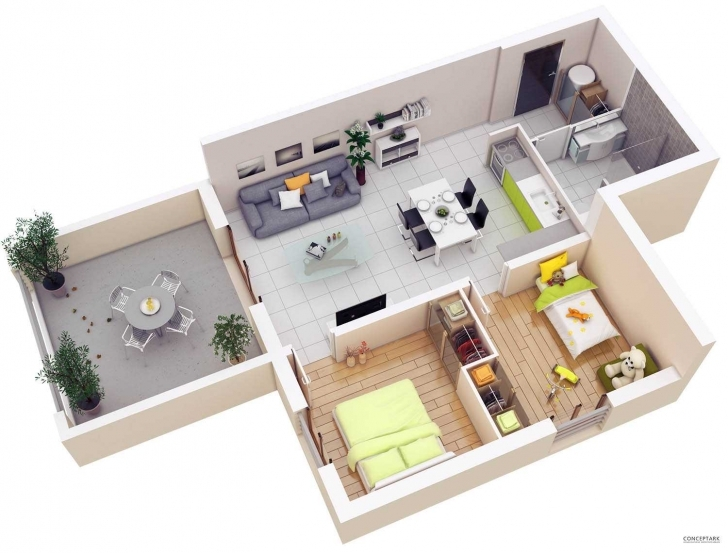Splendid Floor Plans Lay Out Inspirations Including Attractive 3D 2 Bedroom Simple House Plan With 2 Bedrooms 3D Picture