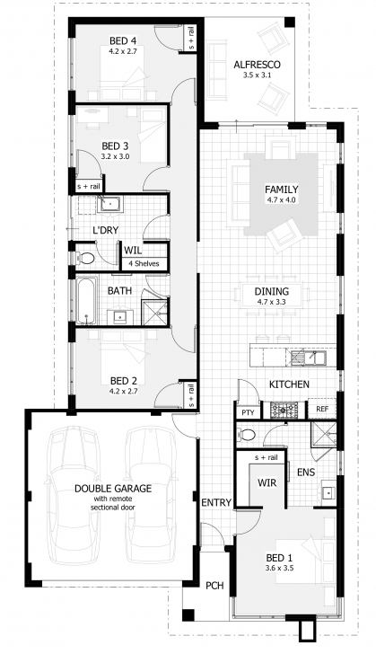 Splendid Floor Plans Narrow Lot Homes Single Story Coastal House Plans Home Single Story House Floor Plans Australia Image