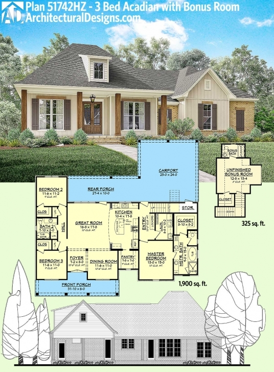 Splendid Home Design: Acadian Home Plans | 1500 Square Foot House Plans House Front 24 Ft Photo