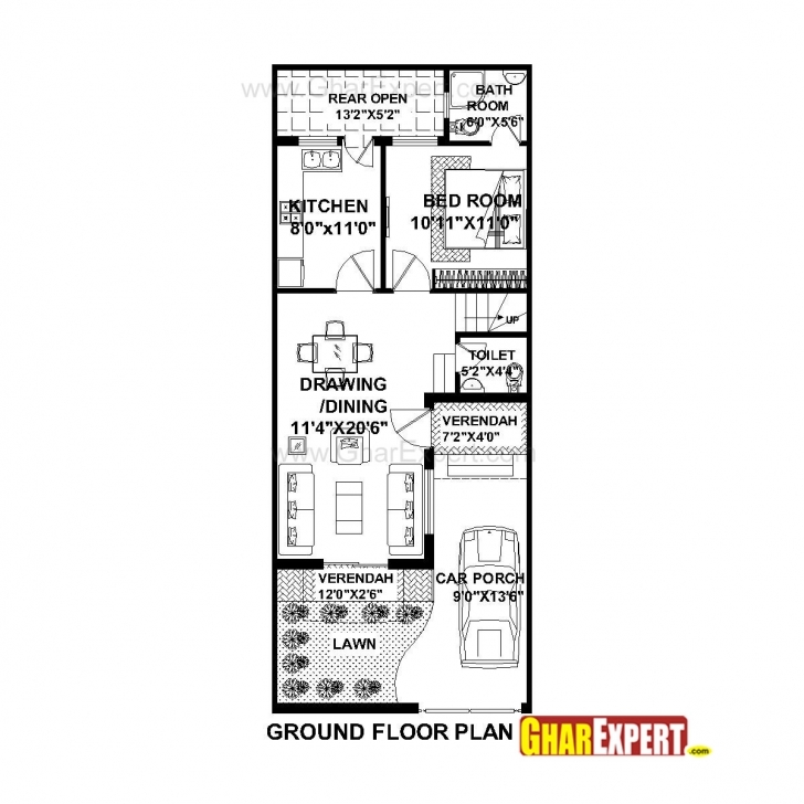 Splendid House Plan For 20 Feet By 50 Feet Plot (Plot Size 111 Square Yards 10×50 House Plan Map Pic