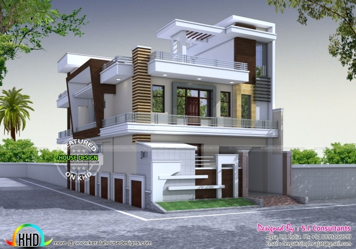 Splendid Modern Style Home Kerala Design And Floor Plans Feet Plot Size House Design Eluvesion Size 3050 Image Pic
