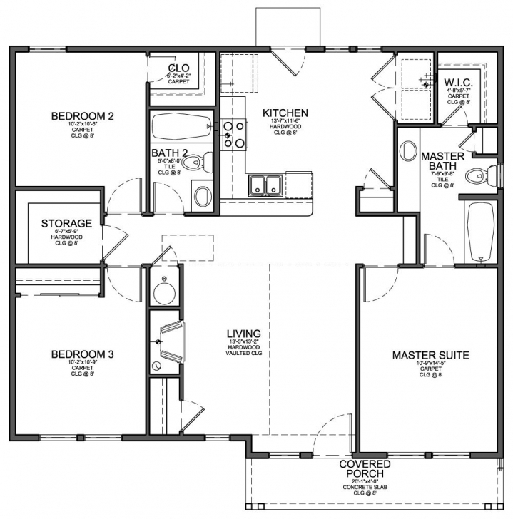 Splendid One Story 3 Bedroom House Plans | House Ideas | Pinterest | Bedrooms Simple One Story 3 Bedroom House Plans Image