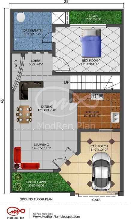 Splendid Ordinary House Map 25 X 45 #7: Stylish House Plan For 23 Feet 45 23*45 House Design Photo