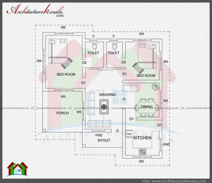 Splendid Three Bedroom House Plan In Kerala Beautiful 750 Sq Ft House Plans 750Sqft Kerala House Pic