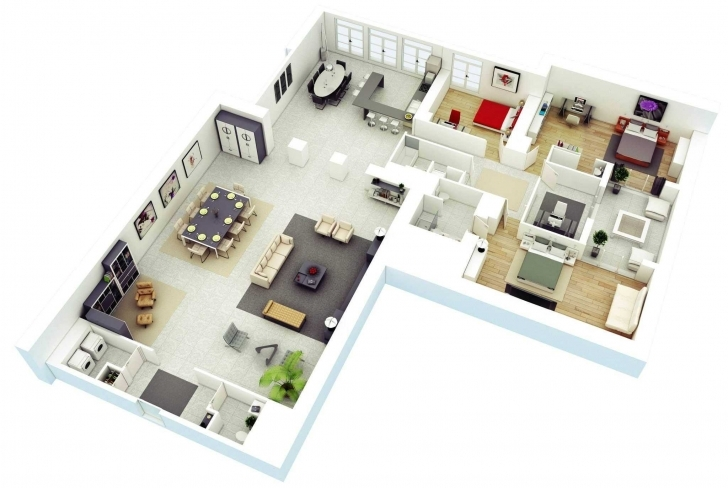 Splendid Understanding Floor Plans Trends And Incredible House Design 3D 5 5 Bedroom House Plan 3D Image