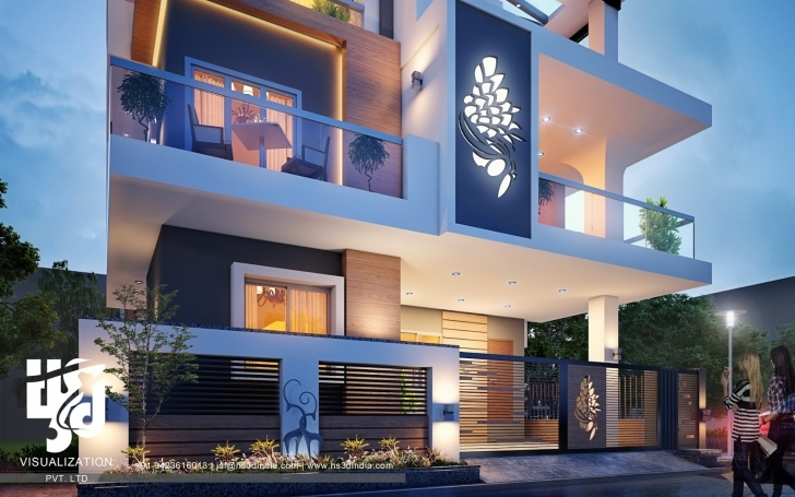Stunning 3D Architectural Visualization: 3D Exterior Night Rendering Modern 3D Elevation Image