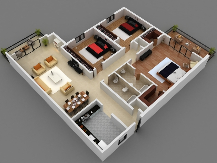 Stunning 3D Plan Of A House 4 Bedroom 3D 4 Bedroom House Plans This Is A 3D 3D 4 Bedroom House Plans Photo