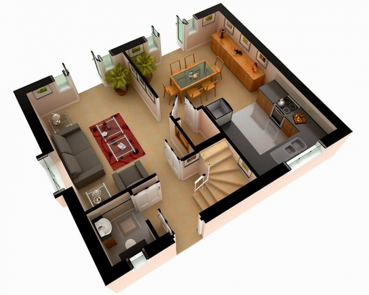 Stunning Home Design: Multi Story House Plans D D Floor Plan Design Modern 3D 3D House Plans Picture
