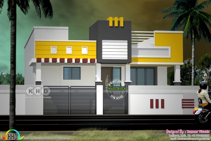 Stunning Modern South Indian Style Single Floor Home - Kerala Home Design And South Indian House Front Elevation Designs For Single Floor Photo