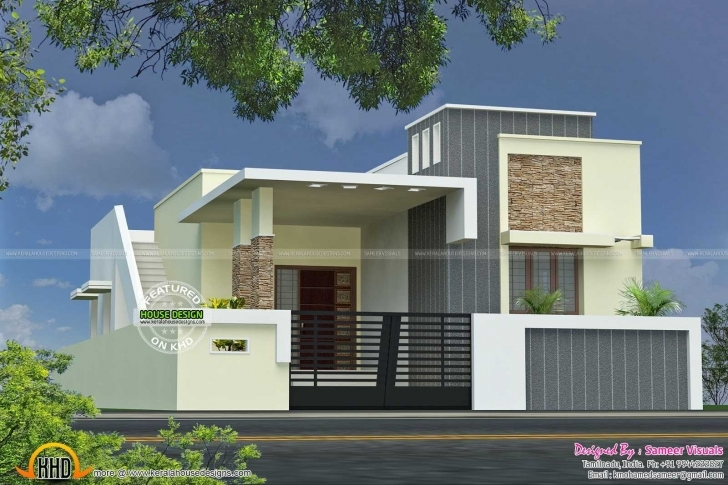Stunning Stunning Front Elevation Of Single Floor House Kerala With Plan Single Floor Elevation India Pic