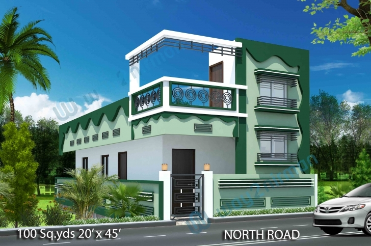 Stunning Way2Nirman: 100 Sq Yds 20X45 Sq Ft North Face House 2Bhk Elevation North Facing House Elevation Designs Pic