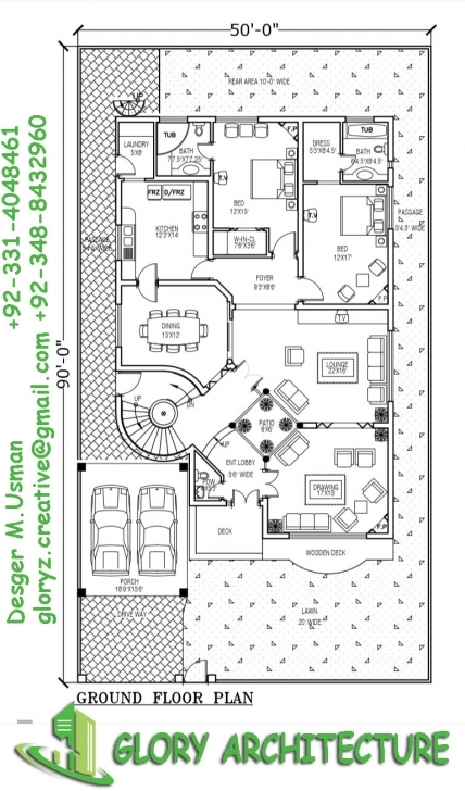 Top 1 Kanal House Plan, 50X90 House Plan, 1 Kanal Pakistan House Plan, 1 Home Naksha 17*50 Top View Pic