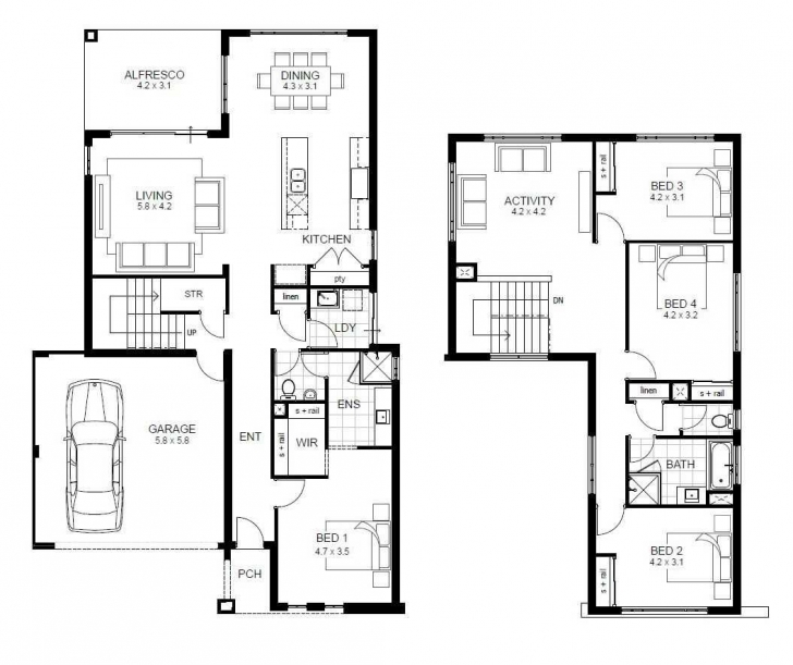 Top Attractive Four Bedroom House Floor Plan With Plans For A Ideas Building Plan Of Four Bedroom Photo