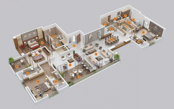 Top Bedroom Apartmenthouse Plans Pictures Simple House Plan With 5 5 Bedroom House Plan 3D Picture
