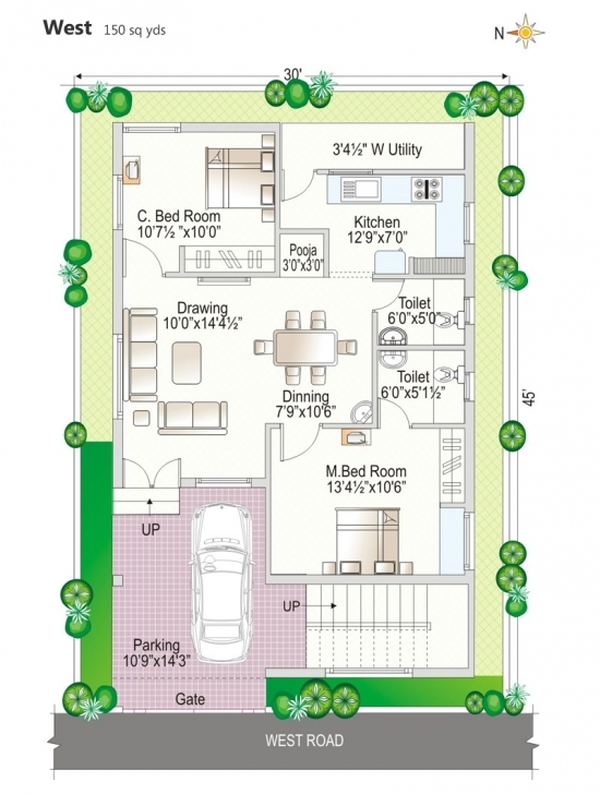 Top Floor Plan - Navya Homes At Beeramguda, Near Bhel, Hyderabad - Navya 30*45 House Plan North Facing Pic