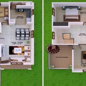 15 X 45 East Facing House Plans