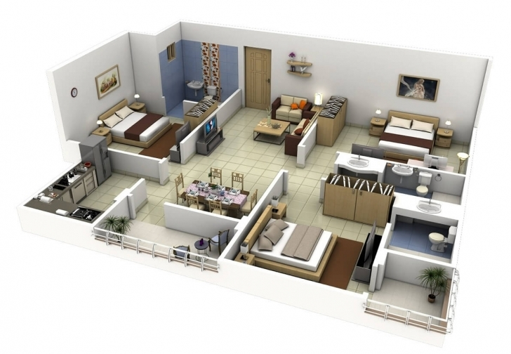 Top Photo of 20 Plans For 3-Room Apartments With Modern 3D Designs - Modern 3 Bedroom Flat Plan Pic