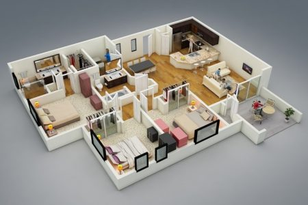 3 Bedroom Floor Plan Bungalow 3D