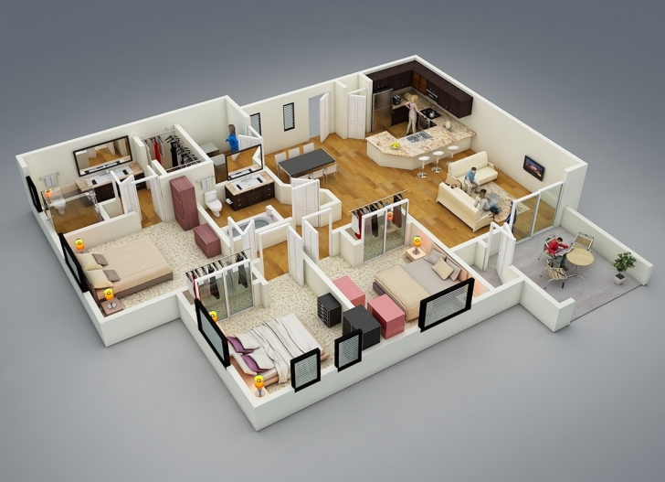 Top Photo of 25 More 3 Bedroom 3D Floor Plans | 3D, Bedrooms And 3D Interior Design 3 Bedroom Floor Plan Bungalow 3D Photo