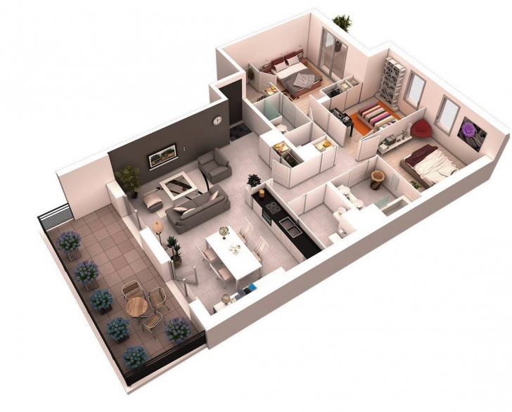 Top Photo of 3D Bungalow House Plans Best Of 25 More 3 Bedroom 3D Floor Plans 3 Bedroom Floor Plan Bungalow 3D Pic