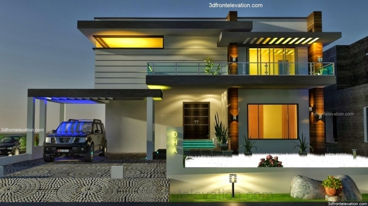 Top Photo of 3D Front Elevation: 2, 2 Kanal Dha Karachi Modern Contemporary 3D Front Elevation Of House In Punjab Picture