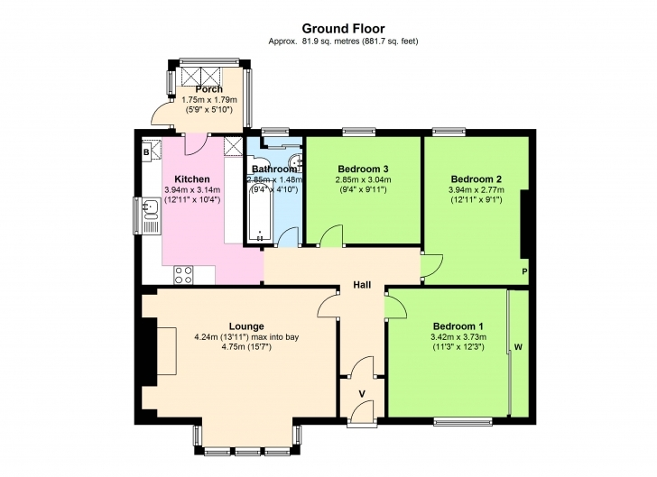 Top Photo of Bedroom Floor Plan Bungalow - House Plans | #6741 3 Bedroom Bungalow Floor Plan With Dimensions Image