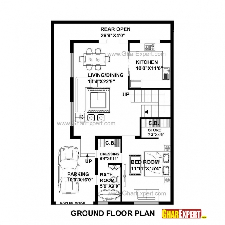Top Photo of Home Design: House Plan For Feet By Feet Plot Plot Size Square Yards 20*50 Plot Design Photo