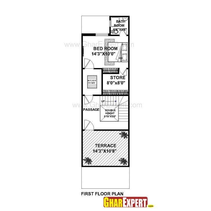 Top Photo of House Plan For 16 Feet By 54 Feet Plot (Plot Size 96 Square Yards 50Feet By 15Feet Plot Image