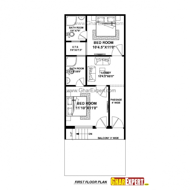 Top Photo of House Plan For 17 Feet By 45 Feet Plot (Plot Size 85 Square Yards House Plan Drawing 17*45 Photo