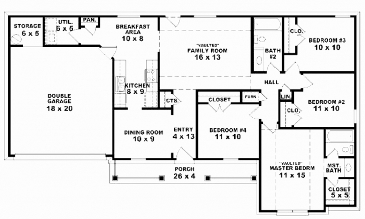 Top Photo of Simple Style House Plans Luxury 4 Bedroom House Plans Country Style Simple House Plan With 4 Bedrooms And Garage Image