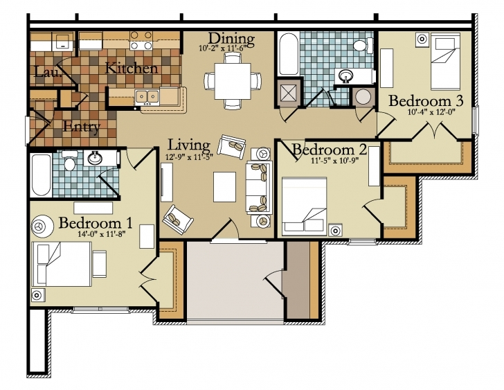 Top Photo of Three Bedroom Apartment Layout - Homes Floor Plans Building Plan Three Bedroom Flat Picture