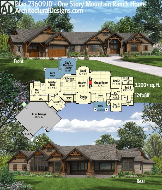 Top Plan 23609Jd: One Story Mountain Ranch Home With Options | Outdoor Luxury Mountain Ranch Home Plans Pic
