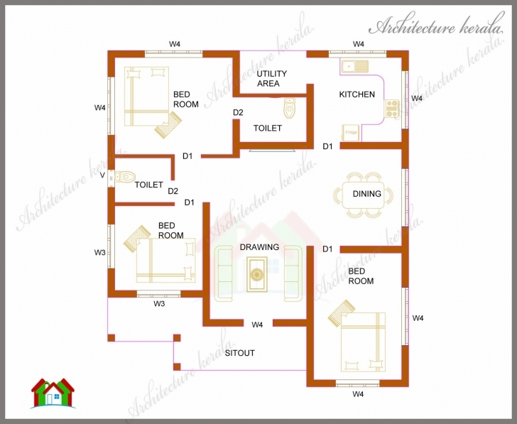 Top Three Bedrooms In 1200 Square Feet Kerala House Plan - Architecture Simple House Plan With 3 Bedrooms Kerala Photo