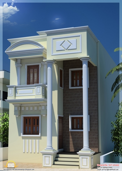 Wonderful 1600 Sq. Ft. Narrow House Design In India - Kerala Home Design And 10 Feet Front House Design Image
