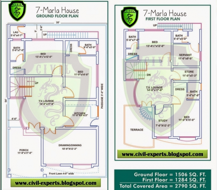 Wonderful Civil Experts: 7 Marla House Plans 7 Marla House Map Image