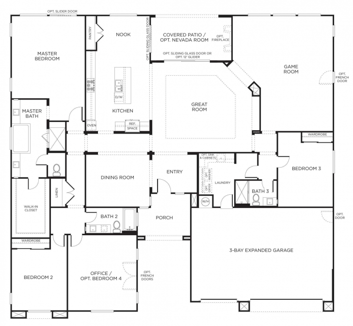 Wonderful Floorplan Bedrooms Inspirations And Charming 4 Bedroom Single Story Four Bedroom Floor Plans Single Story Picture