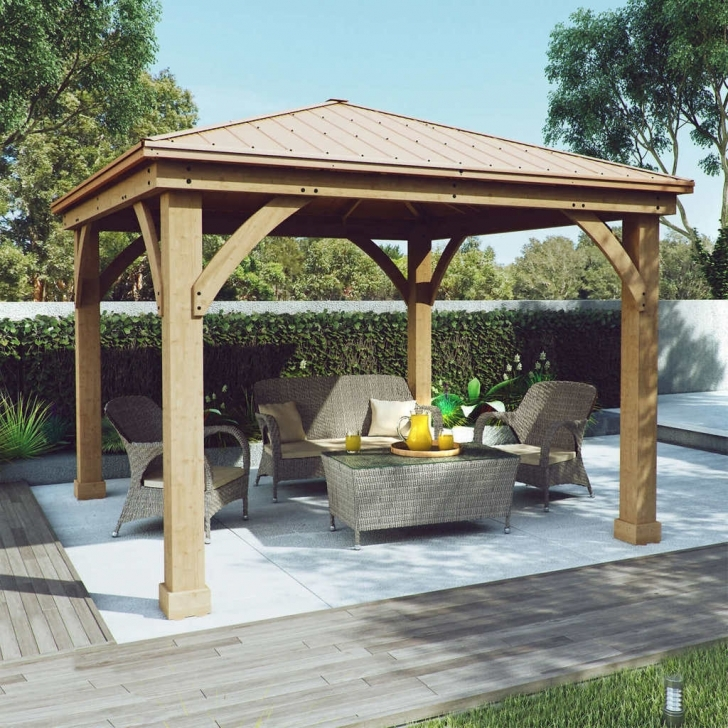 Wonderful Gazebo Design: Awesome Metal Gazebo Costco Costco Gazebo Cedar 12X14 Hardtop 12X12 Costco Gazebo Image