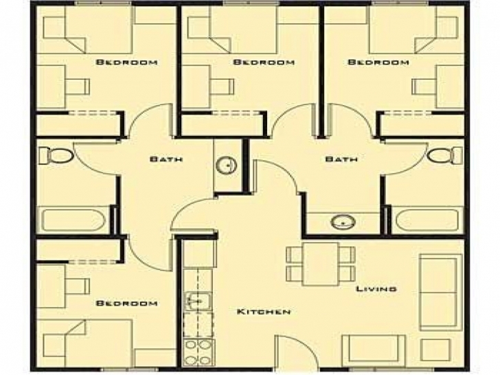 Wonderful Peaceful Design 3 Free House Plans For 4 Bedrooms Country Ranch Free Simple 4 Bedroom House Plans Picture