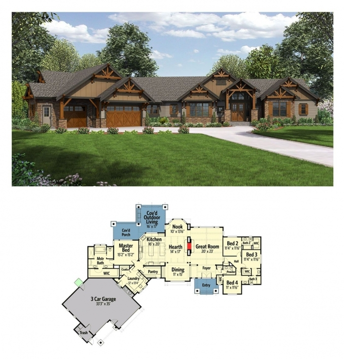 Wonderful Plan 23609Jd: One Story Mountain Ranch Home With Options | Ranch Building Designs On Half Plot Of Land Pic