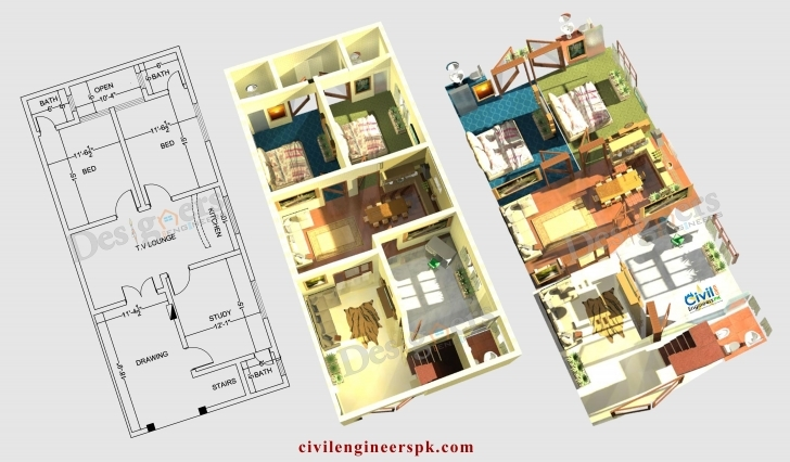 Wonderful Stylish Inspiration Ideas House Designs Floor Plans Pakistan 15 3D 15 Marla Only House Design In Pakistan Pic