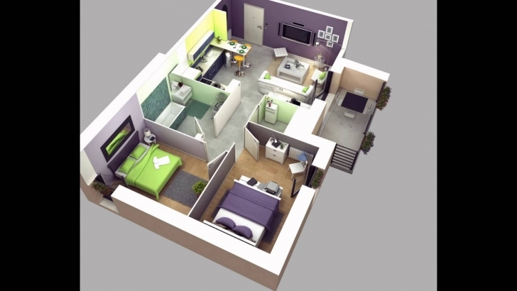 Wonderful Two Bedroom House Plans - Youtube Simple House 3D Blueprint Photo