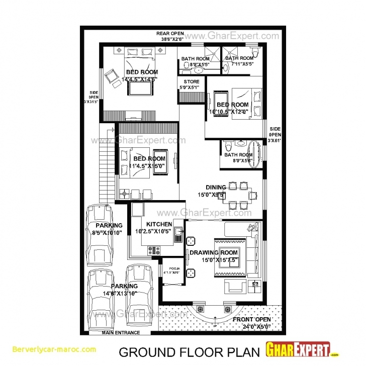Amazing 92+ Home Design 15 X 60 - Latest House Plan Design 15X60, 3 Bedroom 15/60 Home Map Picture