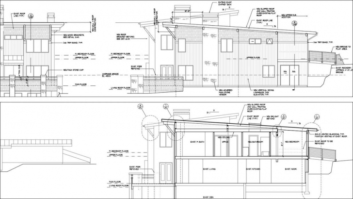 Amazing Auto Cad Elevation And Section Construction Drawings (Exceptional Plan Elevation And Section Drawings Dwg Pic