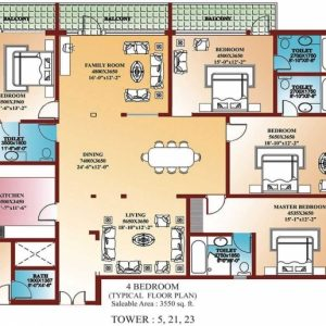 4 Bedroom Building Plan
